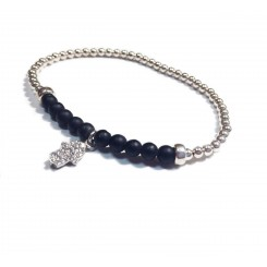 Fine & Fancy Stretch Bracelet - Onyx Hamsa