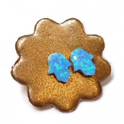Fine & Fancy Studs In Blue Opal - Hamsa