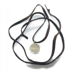 Fine & Fancy Leather Necklace - Silver Disc