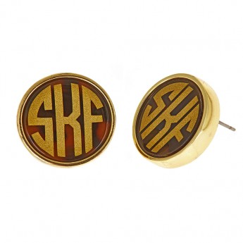 Monogram Disc Earrings