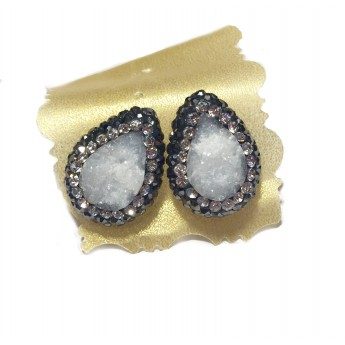 Native Gem Studs - White Druzy