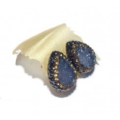 Native Gem Studs - Blue Druzy