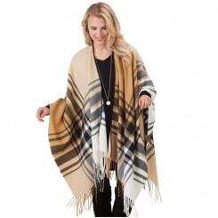 Plaid Stitched Open Poncho