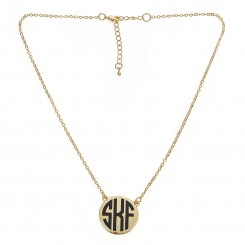 Monogram Gold Disc Pendant