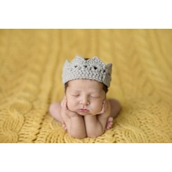 Baby Knit Regal Crown - Grey