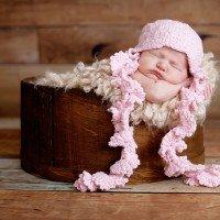 Baby Knit Ruffle Hat W/ Flowers