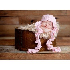 Baby Knit Ruffle Hat W/ Flowers