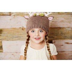 Baby Deer Knit Hat W/ Flowers